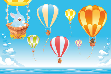 Hot air balloons on the sea with bunny. Cartoon and vector scene