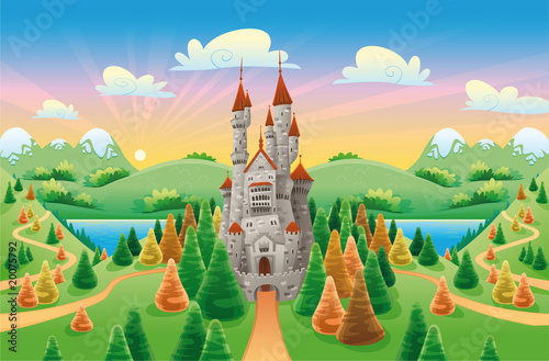 Aluminium Kasteel Panorama with medieval castle. Cartoon and vector illustration