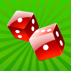 Rolling red glossy dices over green play table vector background