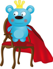 Toy the king a bear on a chair