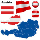Austria vector set. Detailed country shape and flags.