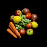 fruit and vegetables on black background
