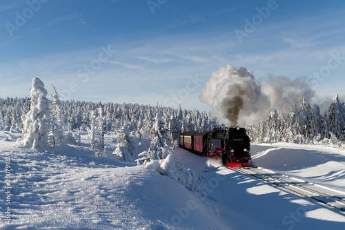 Fototapeta Die Brockenbahn mit der Lok 99 7241-5 der Harzer-Schmalspurbahne