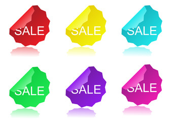 glossy sale tag stickers with reflection