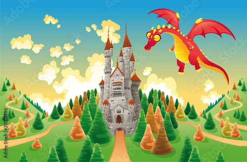 Fototapeta Panorama with medieval castle and dragon. Vector illustration