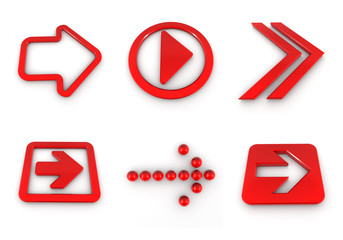Red 3D  arrows set