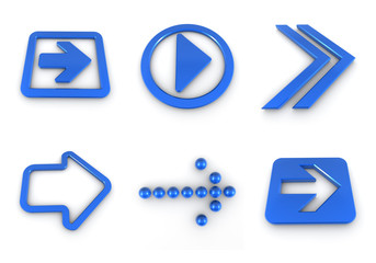 Blue 3D  arrow set