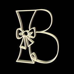 upper case B with bow, 3D in gold metal