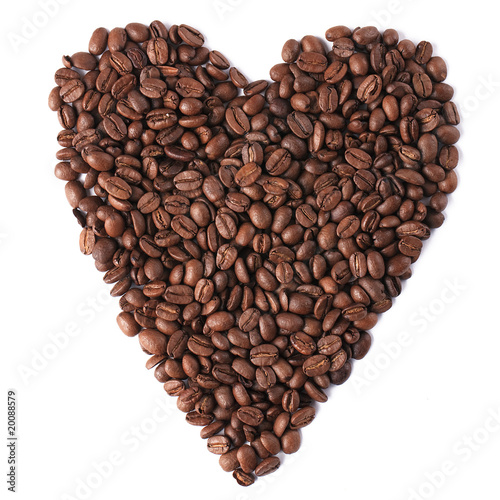 Staande foto Cafe heart with coffee beans