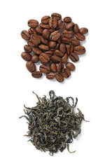 coffee beans and green tea