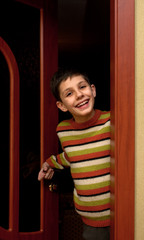 Smiling at the doorway