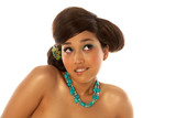 Asian girl with hairdo and makeup poster
