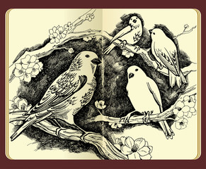 Moleskine drawing of birds flowers and branches