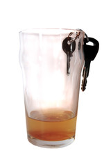 car keys in beer pint glass