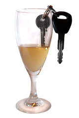 car keys inside champagne glass