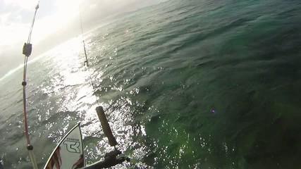 Caméra embarquée sur kitesurfer.