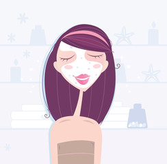 Spa & beauty: woman taking skin care. Vector Illustration.