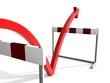 Roter Pfeil überspringt Hürden