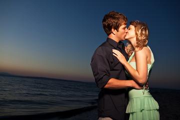 Kissing romantic couple