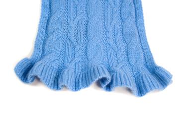 blue knit cashmere scarf