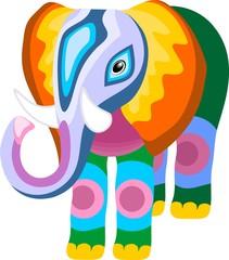 Elefante Astratto-Pachwork Elephant-Elephant Naif
