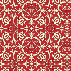 Vector. Seamless floral background in red and gold.