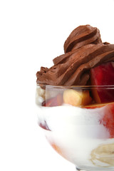 chocolate cream with fruits