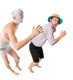 Evil mummy chasing archeologist on white poster