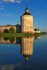 Old Kirillo-Belozersky monastery, tower from lake. Russia.