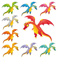 Set of colored dragons. Cartoon and vector characters.