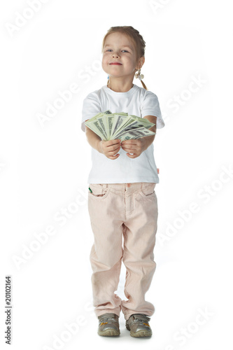 little girl child with money