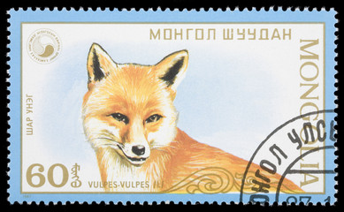 Fox on a postage stamp