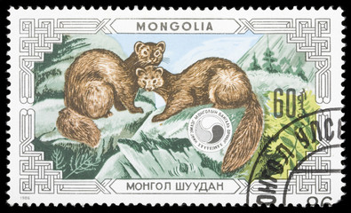 Animals on a postage stamp