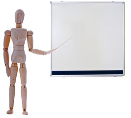 man pointing to a blackboard isolated on a white background
