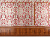 red wallpaper and wood molding poster