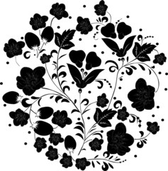 decoration with black flower silhouettes