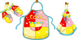 set of kitchen glove and apron and hand towel poster