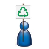 Icono manifestante favor reciclaje poster