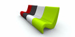 Four colourful modern armchairs on white background
