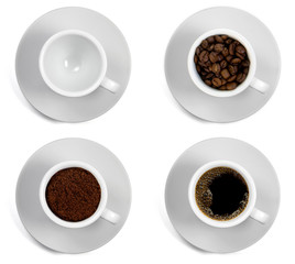 Tazzina di caffè in sequenza