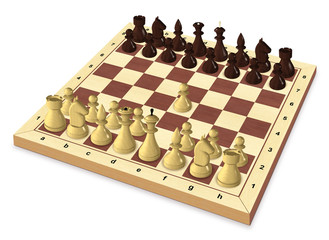 Start of the chess game, a first move