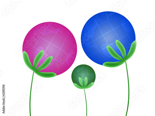Abstract family of plants (globes)