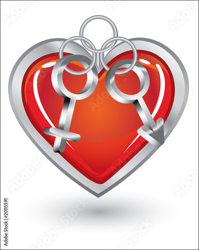 Silver trinket souvenir with heart, female and male symbols
