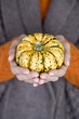 A woman holding a small pumpkin, close-up