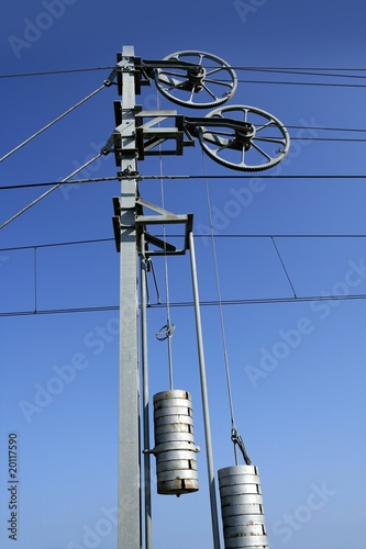 Cables and pole tower, electric train railway