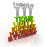 Teamwork - Team Members Stand on Words poster