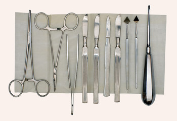 Scalpels and a set of different surgical instruments