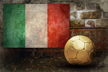 Grunge flag of Italy and ball