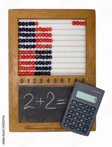 Children's scores, blackboard and calculator