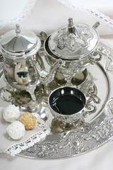 tea set and cookies